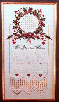 WARM CHRISTMAS WISHES Sampler Cross от StitcheryDickeryDoc на Etsy