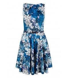 Closet Blue Floral Belted Skater Dress - Enchanted Nights - Collections