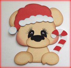Up for your consideration is this adorable Christmas bear with santa hat and candy cane peeker. The background paper is NOT included. Pattern used is from TREASURE BOX DESIGNS. Christmas Scrapbook, Christmas Sewing, Christmas Candy, Christmas Projects, Winter Christmas, Christmas Ornaments, Teddy Toys, Christmas Clipart, Felt Ornaments