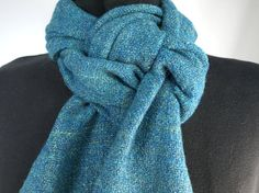 Handspun Handwoven Merino Wool and Silk Scarf by ThreadbareDesigns, $90.00 It has that great slightly nubbly texture that handspun has, but it is SOOO soft!