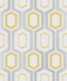 Geometric-Hexagon-Yellow-Cream-Silver-Glitter-Retro-Wallpaper