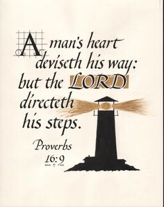 """Hand Lettered Calligraphy Print - """"Proverbs 16:9"""" - Christian décor -Scripture -Wall art"""