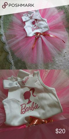 BARBIE TUTU OUTFIT NEW BARBIE TUTU OUTFIT 2T OR I CAN MAKE YOUR SIZE COMES WITH TUTU SHIRT AND BOW Dresses Mini