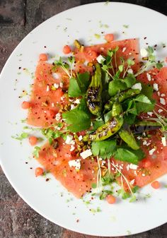 Watermelon Carpaccio ~ Blistered Shishito Peppers, Mitsuba, Pistachio, Feta, Lime Vinaigrette, Korean Red Chili Powder, Lime Zest #summerfest #watermelon
