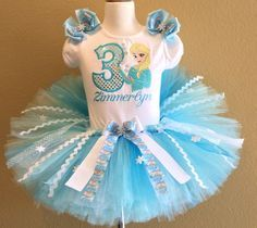 Frozen Princess Elsa Girls Birthday Tutu Outfit Set