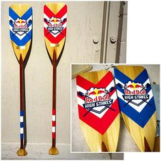 Custom Painted @redbull Paddle Trophies by Ryan Humphrey. Colors used: Red Alert, Truer & Polar ☆☆☆ #PlutoniumPaint #SprayPaint #AerosolPaint #PlutoniumSprayPaint #UltraSupreme #SpecialtyPaint #FastDry #EcoFriendly #MadeInTheUSA