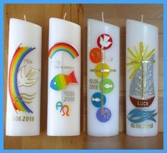 Baptisms Boy / Girl-Motif Cross / Rainbow / Fish / Boat / Including caption - Description: Hand-decorated candle – 4 different motifs The candle carries the RAL seal of qualit - White Candles, Diy Candles, Pillar Candles, Rainbow Fish, Rainbow Art, Baptism Candle, Diy Crafts To Do, Boy Baptism, Coloring Pages To Print