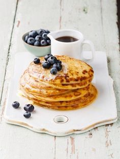 Pancakes ❤️ coffee and blueberrys