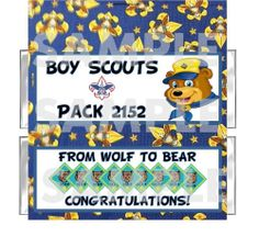 BOY SCOUT Wolf to Bear candy bar wrappers FREE FOILS Pack Ceremony for Scouts