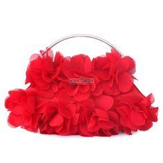 Pochette soirée rouge en mousseline style florale avec poignet pochette femme sac à main pas cher