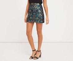 Oasis, WARNER JACQUARD MINI SKIRT Multi Blue