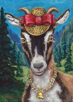 "NFAC Acrylic Painting 5""x7""Outsider Folk Gulat Alpine Goat Hat Bow Bell Pines   #FolkArtOutsiderArt"