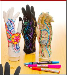 Mehndi Art Gloves Originating in ancient India, Mehndi is the artistic application of designs to the hands and feet. Students can enjoy the practice of Mehndi without staining their skin by creating radial designs in marker while wearing a glove. The sense of touch while creating the design is an important part of the process. Grade Level: K – 12 http://www.dickblick.com/lesson-plans/mehndi-art-gloves/