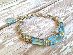 Blue Topaz Gemstone Bracelet on Sterling Silver--Hand Cut Gemstones!