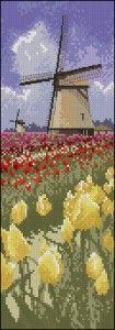 free cross-stitch patterns Tulip fields