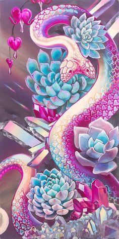 Building A Tribal Future – Jessica Perlstein Trippy Wallpaper, Animal Wallpaper, Wallpaper Backgrounds, Cute Snake, Snake Art, Visionary Art, Psychedelic Art, Cute Wallpapers, Art Inspo