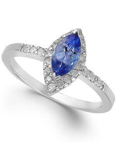 Tanzanite (5/8 ct. t.w.) and Diamond (1/5 ct. t.w.) Ring in 14k White Gold $719.00