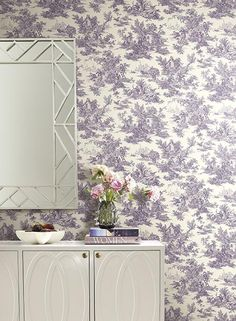 Campagne Toile Wallpaper in Purple by Ashford House for York Wallcoverings