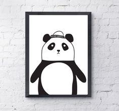 Panda - Szare-Kropki - Plakaty dla dzieci