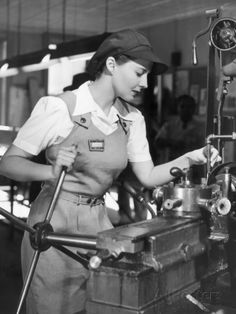Woman Defense Worker Operating Machinery Photographic Print