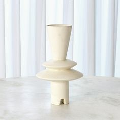 Adelyn Geometric Vase-White
