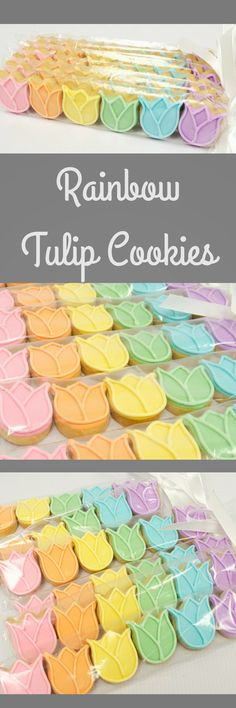 Rainbow Mini Tulips Decorated Sugar Cookies, Already wrapped Perfect for your Party Favor, add on Gift Ideas or Easter Basket gift idea #affiliate