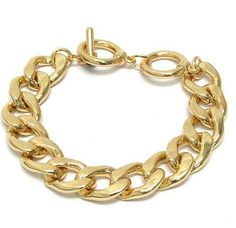 Gold Plated Curb Link Toggle Bracelet by BeyondPerfection on Etsy