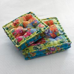 Provide comfortable seating anywhere in your home with these beautiful patchwork floor pillows!
