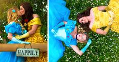 This Couple's Disney Engagement Photoshoot Dressed As Belle & Cinderella Is A Modern Fairytale | Bored Panda