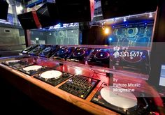 Interior detail of the DJ booth at Matter, London