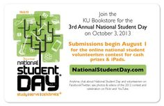 Be sure to stop by the @KU Bookstore at The University of Kansas (#KU) on October 3rd for National Student Day!
