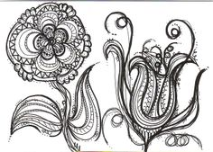 Of COURSE I love this black ink pen drawing! Ink Pen Drawings, Zentangle Drawings, Doodle Drawings, Doodle Art, Flower Drawings, Zentangles, Flower Doodles, Doodle Flowers, Sharpie Art