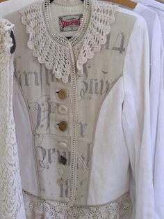 Linen Jacket Womens Upcycled LINEN Jacket Antique by robynswing, $225.00