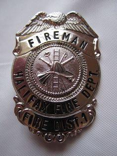 Vintage Fireman Badge Halifax Fire Deparment Obsolete Daytona Beach Florida
