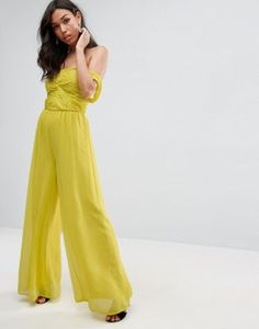 ASOS Bandeau Off Shoulder Jumpsuit in Chiffon - Yellow Jumpsuits For Women Formal, Long Jumpsuits, Playsuits, Latest Fashion Clothes, Latest Fashion For Women, Fashion Online, Women's Fashion, Bandeau Jumpsuit, Yellow Jumpsuit