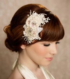 Champagne bridal headpiece, lace hair piece, crystal headpiece, lace hair comb, fascinator, crystal hair comb, Wedding Headdress - TRACI on Etsy, $111.12 CAD