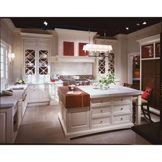 two material island Christopher Peacock White kitchen with butcher block