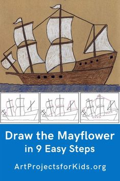How to Draw the Mayflower · Art Projects for Kids Show your students how to draw the Mayflower and they just might make some beautifully detailed ships. Thanksgiving Drawings, Thanksgiving Art Projects, Fall Art Projects, Projects For Kids, Pilgrims Thanksgiving, Boat Drawing, Drawing For Kids, Back To School Art, Art School
