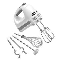 This KitchenAid 9-Speed Hand Mixer pack includes two stainless steel Turbo Beater II beaters, steel Pro Whisk, two steel dough hooks, blending rod and a storage bag to neatly protect and organize everything.