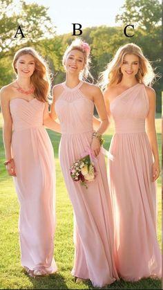 Pastel Pink Cheap Long Lace Chiffon Bridesmaid Dresses Mixed Style Blush Bridesmaid Formal Prom Party Dress with Ruffles Custom Made