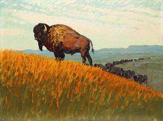 American Bison, Native American, Edgar Payne, American Spirit, Le Far West, Wildlife Art, Old West, Western Art, Animal Paintings