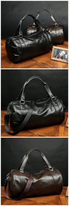 Men's Leather PU Large Vintage Travel Gym Weekend Overnight Bag Duffle Handbags Black Brown Bagail.com