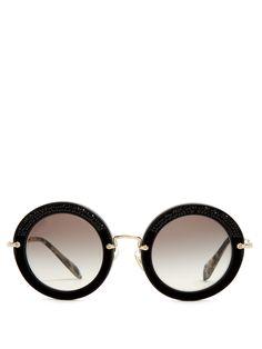 2b815b9d5bb84a Noir round-frame sunglasses   Miu Miu   MATCHESFASHION.COM US Round Frame  Sunglasses