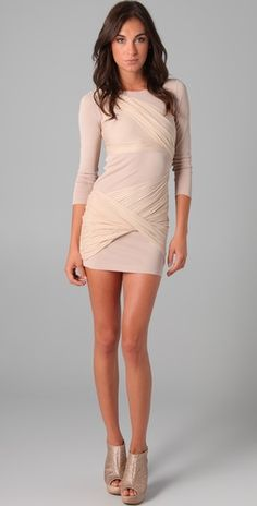 nude long sleeve goddess dress.