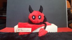cute Devil Mimi Plushie - New Sites Stuffed Animals, Fantasy Wesen, Maker, Cute Creatures, Plushies, Hand Sewing, Favorite Color, Devil, Great Gifts