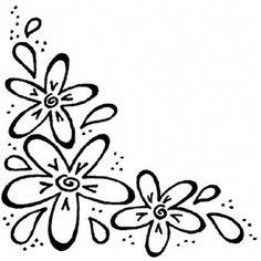 Personal Impressions Three Flower Corner Rubber Stamp