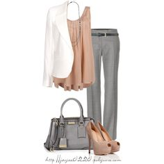 """Gray, Tan and White"" by jaycee0220 on Polyvore"