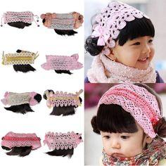 Baby Children Princess Girl Flower Lace Elastic Headband Hair Band Hairpiece New