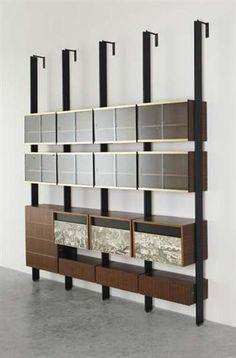 """PIERO FORNASETTI AND STUDIO PONTI FORNAROLI ROSSELLI (PFR)  Unique """"Cittá di Carte"""" modular bookcase,1950s"""