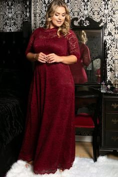 Plus Size Burgundy Lace Maxi Dress With Sleeves. Burgundy plus size lace maxi dress with 3/4 length sleeves. This burgundy plus size gown is perfect for special occasions or an elegant evening out.  #Fashion #Style #PlusSizeFashion #PlusSizeStyle #CurvyGirl #curvy #curvyfashionista